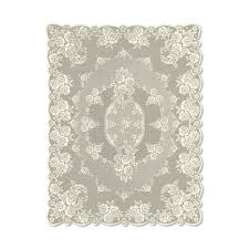 heritage lace victorian rose rectangle ecru white polyester tablecloth