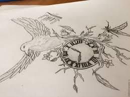 эскиз птица часы