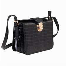 Genuine Leather Black <b>Croco Pattern Handbag</b> Wholesale <b>Women</b> ...