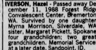 Obituary for Hazel IVERSON - Newspapers.com
