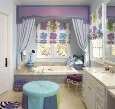 kids bathroom design glass storage shelves pretty chandelier vertical framed wall mirror white vessel bath sinks