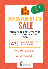 Furniture sale advertisement Weekly Advertisement Fotoliacom Office Furniture Sale At Scalabrini Centre Of Cape Town English