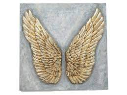seraphim gold angel wing relief wall plaque