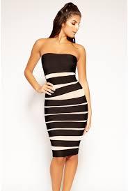 Iva - Black & Nude Mesh Strapless Bandage Dress   Bandag Dresses   Miss G  Couture