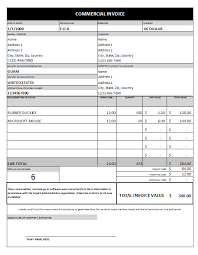 Printable Commercial Invoice Commercial Invoice Template Excel Free Download Free Commercial