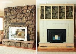 covering a fireplace fireplace surround redo rock framework covering brick fireplace with stone