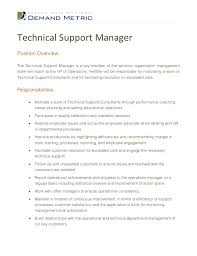 Manager Technical Support Job Description