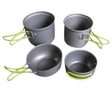 4pcs/set Outdoor <b>Camping Tableware</b> Portable Cookware <b>2-3</b> ...