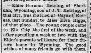 Elder Herman Ketring and Elva Riggs marriage, 4-24-1896, Elk City  Enterprise - Newspapers.com