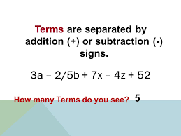 terms are separated by addition or subtraction signs