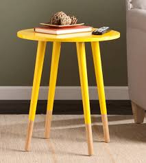 colorful yellow compact round accent table for the living room