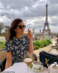 They celebrated nina's birthday together. Nina Dobrev Is A Vision Of Beauty In A Navy Floral Tea Dress As She Steps Out For Paris Fashion Week Daily Mail Online