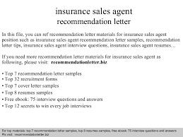 Insurance Sales Agent Recommendation Letter
