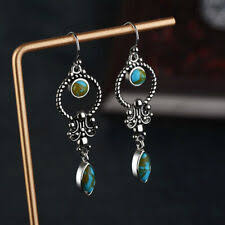 pansysen vintage turquoise drop earrings genunie 925 silver jewelry for women anniversary gift wholesale fine