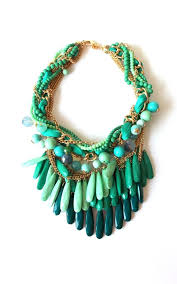 Chunky Green Bead Layered Statement Necklace By Olivia Divine Jewellery
