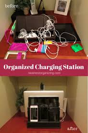 Organized Charging Station - holds up to 5 electronic devices including  laptop & iPad. Convenient hidden cord storage plus elastic bands keep  unsightly ...