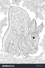 вектор Coloring Page Of Squirrel Eating