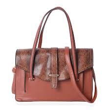 brown with snake skin pattern faux leather tote bag 12 6x5 1x9 5 in with detachable shoulder strap 49 in faux leather handbags fashion accessories