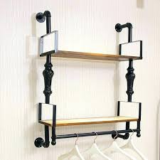 wall mounted clothing rod rack astonish furniture 3 hook brown wooden clothes hanging wall mounted clothing rod