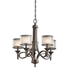 lacey 5 arm chandelier in mission broze