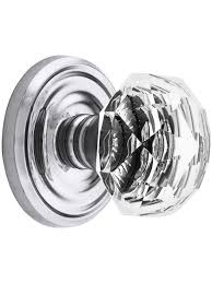 Classic Rosette Set With Diamond Crystal Door Knobs Privacy ...