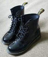 dr martens 1460 w 8 eye patent leather shiny black boots size uk 9