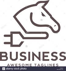 template horse modern simple line logo of a horse and power plugs logo concept
