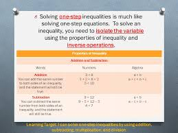 o solving one step inequalities is much like solving one step equations 7 using addition and subtraction