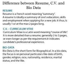 Difference Between Resume Curriculum Vitae C V and Biodata Domov