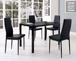 glass dining table set and with 4 black faux leather chairs decoration in black dining table
