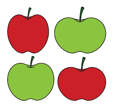 green and red apples clipart. green apples vs red and clipart
