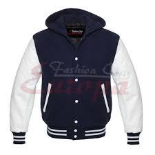men s varsity real leather sleeves wool letterman jacket w hood navy white