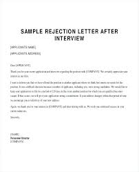Example Rejection Letter After Interview Internal Candidate Template