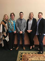 Brenau University College of Business & Communication - Lila Westmoreland  and Suzanne Erickson, both of Brenau University with speakers, Caleb Spivak  of What Now Atlanta, Hillary Harper Etienne and Derrick Case, both