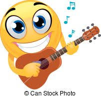 Rock emoticon playing the guitar.