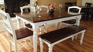 rustic farmhouse table brown stained top white painted legs 4 white chairs brown