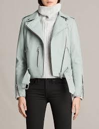allsaints mint green jackets balfern leather biker jacket