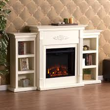 com tennyson electric fireplace w bookcases ivory kitchen dining