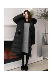 black hooded fur long puffers coats for women loading zoom