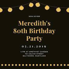 Downloadable Birthday Invitations Customize 985 80th Birthday Invitation Templates Online Canva