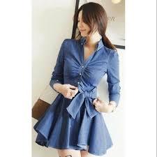 Formal <b>korean Denim Dress</b> | Shopee Philippines