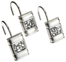 sinatra set of 12 resin shower curtain hooks silver ed glass look