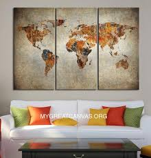 3 piece canvas print. Contemporary Print Colorful Canvas Print 3 Panel WORLD MAP  Piece Atlas Art Pri U2013  Extra Large Wall To I