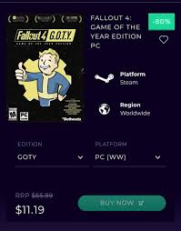 Just got fallout 4 goty for 11.49 I ...