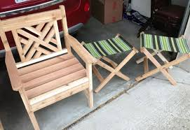 low cost diy wooden patio chair and folding outdoor stool with stripes sling seating