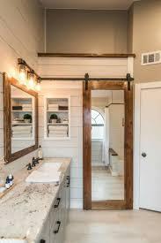 walk-in closet behind mirrored barn door :: Modern farmhouse bathroom  remodel ideas