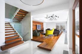 interior: Modern Stair Model And Wooden Laddersteps Closed Sleek Floor Near  Minimalist Ideas Living Room