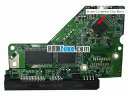 hard drive pcb components com motor controller chip burnt