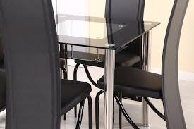 faux leather high back chairs. compact square dining table and 4 chairs, black border tempered glass faux leather high back chairs