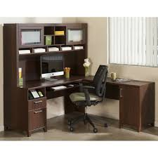 bush office connect achieve l shaped desk with hutch and lateral file sweet cherry hayneedle